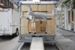 commercial drone in use in warehouse